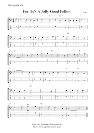 free bass guitar tab sheet music for he u0027s a jolly good fellow