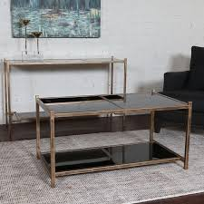 West Elm Etched Granite Coffee Table Glass Top Black Shelf Coffee Table