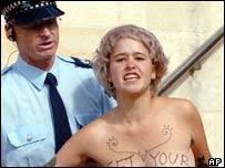 bare breast news asia pacific bare breast protest greets prince