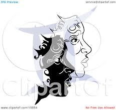 clipart illustration of two twin faces over a blue gemini