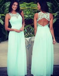 a line floor length cowl neck backless blue chiffon prom dress
