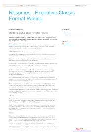 classic resume template sles fine executive classic format resume template gallery exle