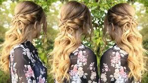 romantic half up half down hairstyle with curls