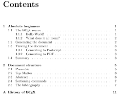 what does table of contents mean tables of contents getting to grips with latex andrew roberts