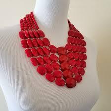 beaded red necklace images Women 39 s facet beaded bib necklace sabatues llc jpg
