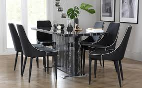 Magnus Black Marble Dining Table With  Modena Black Chairs Only - Marble dining room furniture