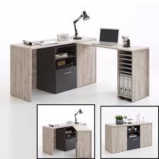 Computer Desk Armoire Oak Weimar Corner Computer Desk And Sideboard In Sand Oak Anthracite