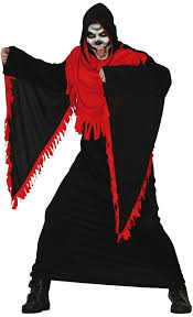 Grim Reaper Halloween Costumes Adults Mens Black Red Grim Reaper Fancy Dress Costume Fancy Limited