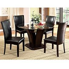 Dining Room Tables Set Amazon Com Manhattan Dark Cherry Finish 5 Piece Round Glass Top