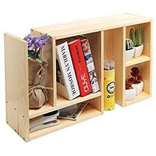 Desk Organizer Shelf Beige Wood Adjustable Desktop Organizer Book Shelf