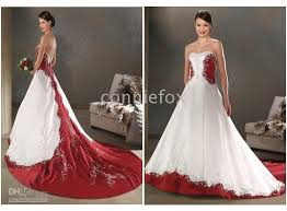 red and white embroidey bride plus size wedding dresses any size