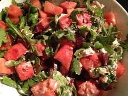 perfect potluck salad watermelon and beets layered with goat