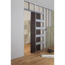 comment poser une porte de chambre système galandage en kit pour porte coulissante artens 3 l 63 cm