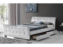 Velvet Sleigh Bed Crushed Velvet 4 Drawer Sleigh Storage Bed