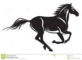 mustang horse silhouette galloping horse stock vector image of pony black nobody 4337698