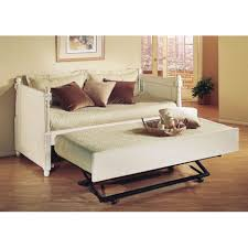 White Frame Bed Bedroom Xl Daybed Pop Up Trundle White Metal Wood