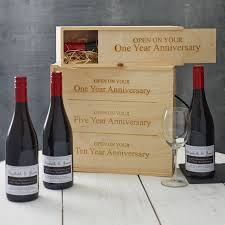 anniversary wine bottles personalised anniversary wine box by intervino