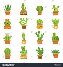 cute desert plants cactus pots vector stock vector 646803853
