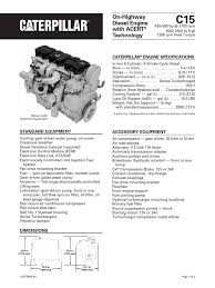 caterpillar c15 engine specs transmission mechanics horsepower