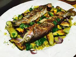 cuisine courgette trout with courgette and cauliflower couscous