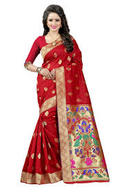 buy see more red color paithani silk saree online best prices in