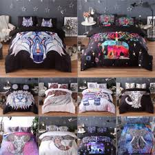 Bed Covers Set Mandala Comforter Bedding Cover Colorful Elephant Boho India Duvet