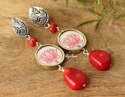 earrings online india artisan lotus silver gemstone coral earrings online in india