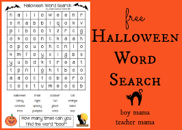 boy mama teacher mama freebie halloween word search