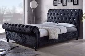 sleigh style chesterfield upholstered bed frame single small