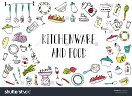 set kitchen utensils food design elements stock vector 619156433