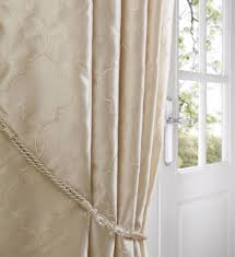cream midtown embroidered faux silk fully lined eyelet curtains