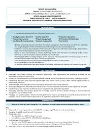 Quality Inspector Resume Sushil Kumar Jain Resume International Mod 3