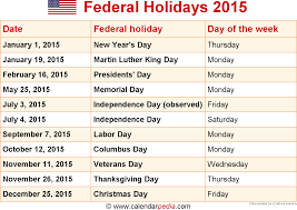 when is thanksgiving 2015 usa federal holidays 2015