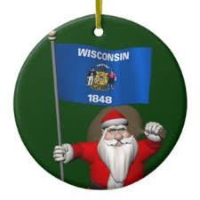 santa claus with ensign of wisconsin ornaments keepsake