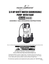 harbor freight water pump chicago electric 3 4 hp dirty water submersible pump with float