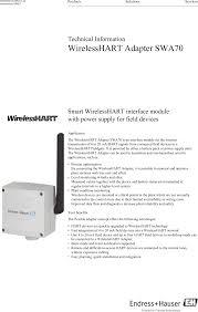 swa70a wireless hart adapter user manual wirelesshart adapter
