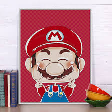 modern super mario portrait pop japanese anime game a4 art print