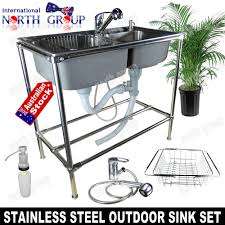 outdoor double bowl stainless steel sink for bbq backyard deck