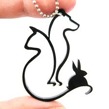 dog cat and bunny animal silhouette outline necklace in black