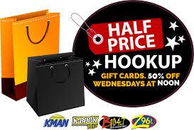 half gift cards half price hookup manhattan broadcasting company
