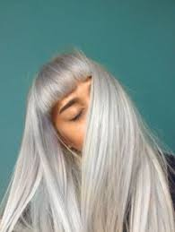 lovely bright lavender locks blunt bangs and a choppy long bob