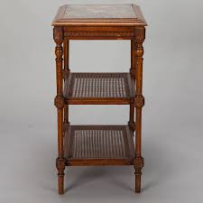 Nightstand With Shelves French Tiered Side Table With Marble Top And Caned Shelves For
