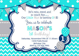 boy 1st birthday birthday invitation boys party invitation turquoise grey navy