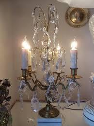 Table Lamp Brass Bulb Holder Antique Vtg French Brass U0026 Crystal Chandelier Girandole Candelabra