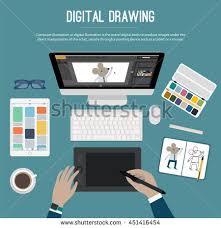 digital drawing website digital drawing web banner illustrator workplace stock vector