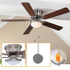 Low Profile Ceiling Fans With Lights Hton Bay Hugger 52 Inch Brushed Nickel Ceiling Fan Light Ebay
