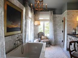 bathroom marble wall patterned curtains tile walls vanity chair