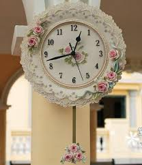 novelty design wall clock romantic rose garden small size mute