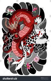hand drawn dragon koi fish flower stock vector 682564612