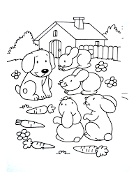 dog with rabbit friends animal coloring pages for kids to print